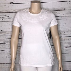 IZOD NWT XL White Embossed Knit Top Tee Shirt